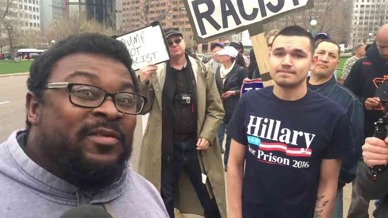 Trump Protestor Can't Answer Why Trump Is Racist - YouTube