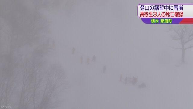 雪崩に巻き込まれた高校生のうち3人死亡確認   NHKニュース