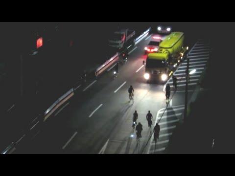 ★福岡県警★まさかの自転車暴走族の大集団!緊急走行で追尾するレガシィパトカー - YouTube