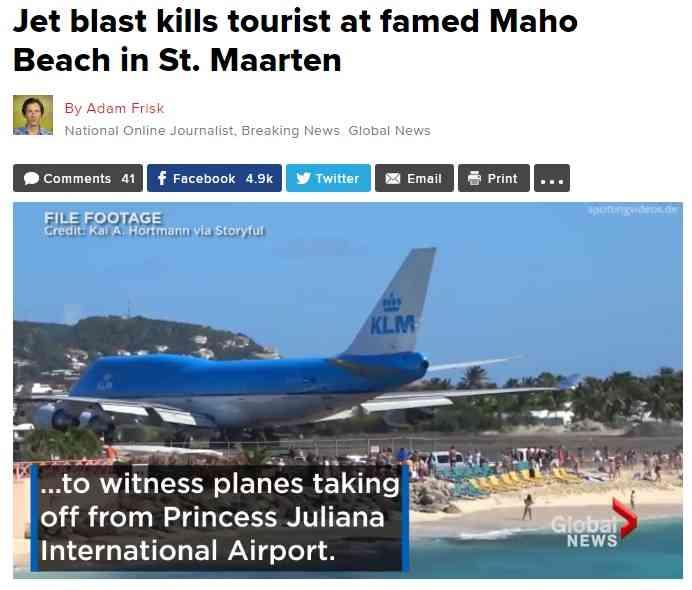 超低空飛行の離着陸が拝める「世界一危険なビーチ」でついに死亡事故!