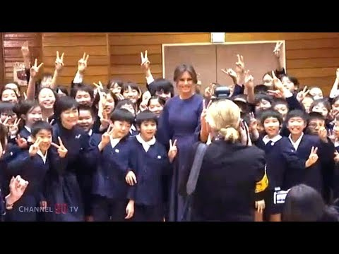 First Lady Melania Trump and First Lady Akie Abe visits elementary school in Tokyo  Japan - YouTube