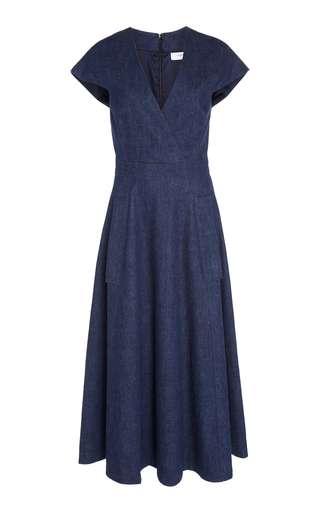 V-Neck Faux Wrap Midi Dress by Carolina Herrera | Moda Operandi