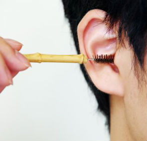 耳かき用のたわし爆誕 毛が放射状に伸び耳の中全体を刺激