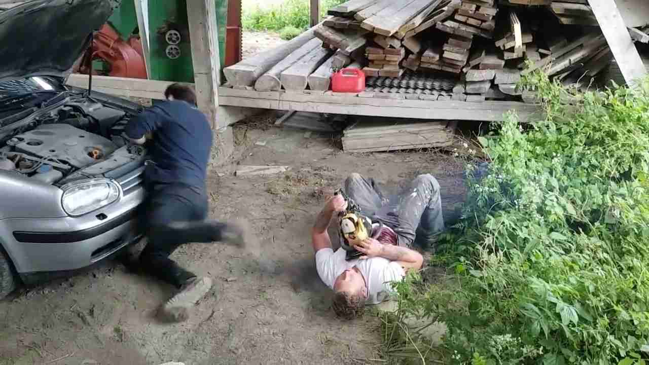 Chainsaw Prank Causes Friend to Faint - YouTube